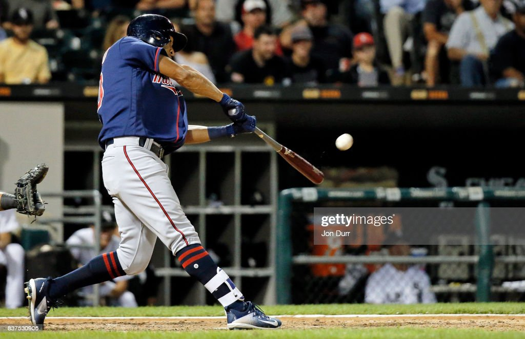 Eddie Rosario #20 of the Minnesota Twins hits a two run home run against the Chicago White Sox during the sixth inning at Guaranteed Rate Field on August 22, 2017 in Chicago, Illinois.