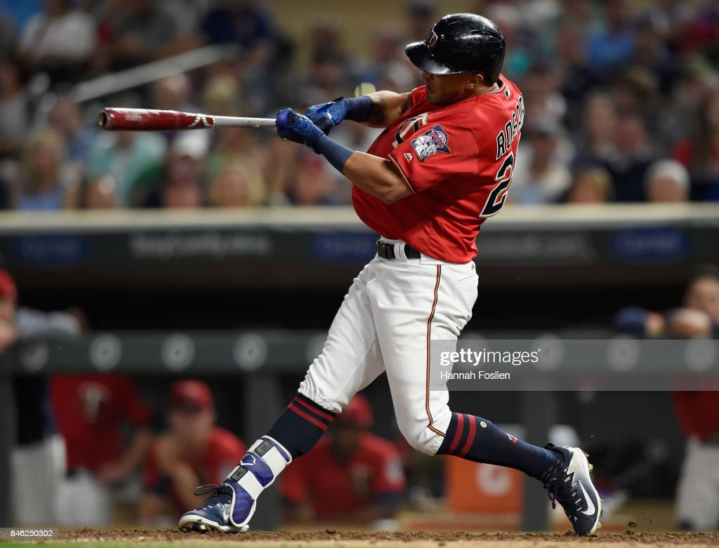 Eddie Rosario #20 of the Minnesota Twins hits a two-run home run against the San Diego Padres during the fourth inning of the game on September 12, 2017 at Target Field in Minneapolis, Minnesota. The Twins defeated the Padres 16-0.