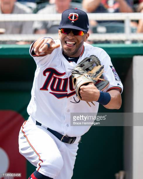 Eddie Rosario of the Minnesota Twins looks on during a spring training game against the Philadelphia Phillies on March 3 2019 at Hammond Stadium in...