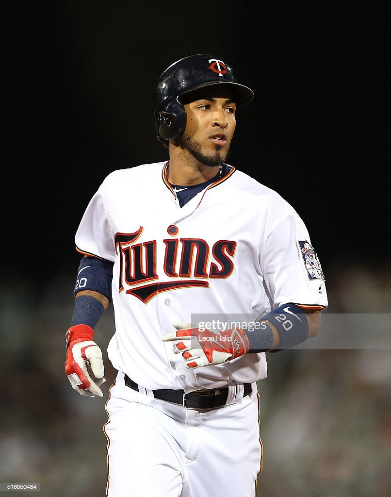 Eddie Rosario #20 of the Minnesota Twins rounds second base after hitting a solo home run in the fifth inning of the Spring Training Game against the Boston Red Sox on March 16, 2016 at CenturyLink Sports Complex and Hammond Stadium, Fort Myers, Florida.