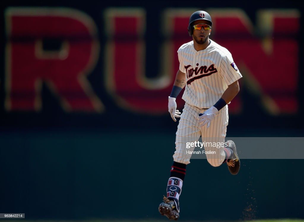 Eddie Rosario #20 of the Minnesota Twins rounds the bases after hitting a solo home run against the Toronto Blue Jays during the second inning of the game on May 2, 2018 at Target Field in Minneapolis, Minnesota.