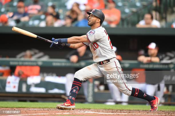 Eddie Rosario of the Minnesota Twins takes a swing in the sixth inning during game one of a doubleheader baseball game against the Baltimore Orioles...