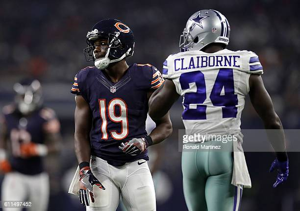 Eddie Royal of the Chicago Bears and Morris Claiborne of the Dallas Cowboys at AT&T Stadium on September 25, 2016 in Arlington, Texas.