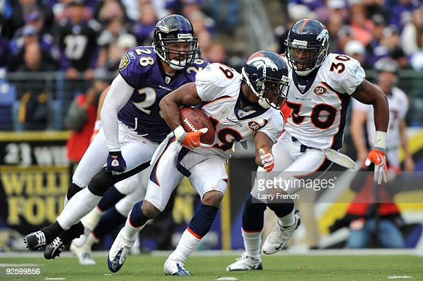 Eddie Royal of the Denver Broncos runs the ball against the Baltimore Ravens at M&T Bank Stadium on November 1, 2009 in Baltimore, Maryland.