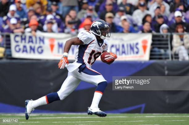 Eddie Royal of the Denver Broncos runs the ball against the Baltimore Ravens at M&T Bank Stadium on November 1, 2009 in Baltimore, Maryland. The...