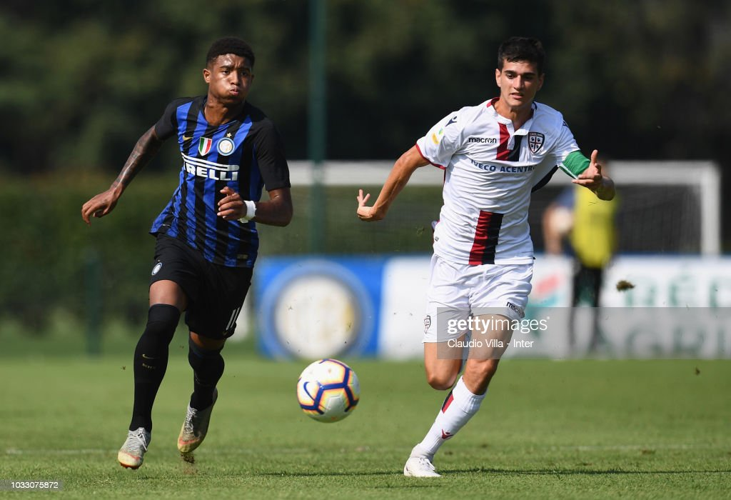 Eddie Salcedo of FC Internazionale in action during Fc internazionale U19 V Cagliari U19 match at Stadio Breda on September 14, 2018 in Sesto San Giovanni, Italy.