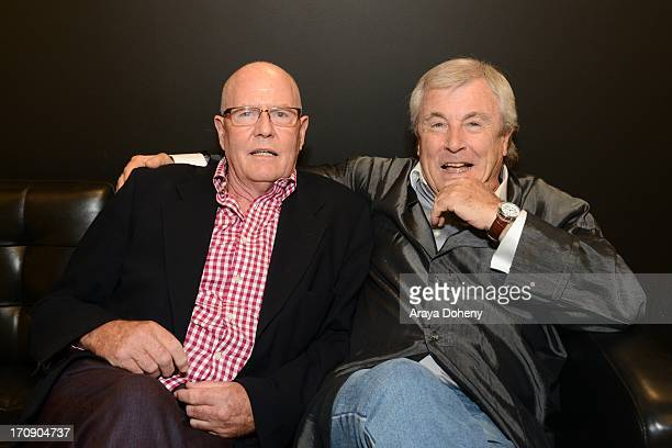 Eddie Sanderson and Terry O'Neill attend a gallery exhibit of Terry O'Neill Presents The Opus A 50 Year Retrospective at Mouche Gallery on June 19...