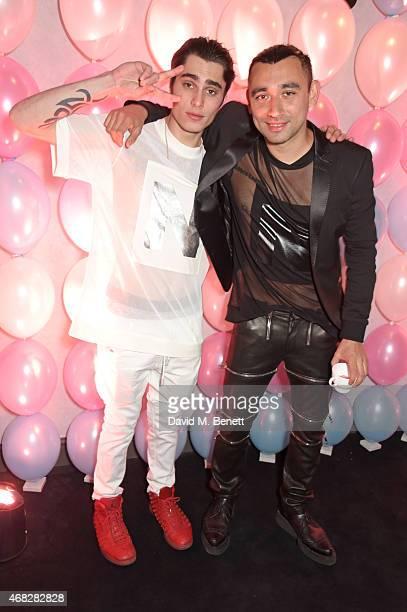 "Eddie Schimerman and Nicola Formichetti's attend the launch of Nicola Formichetti's new label ""Nicopanda"" at Selfridges on April 1, 2015 in London,..."