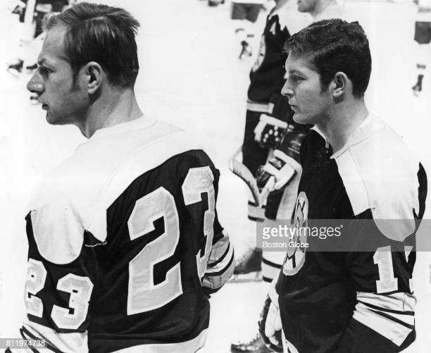 Eddie Shack and Fred Stanfield in Boston Nov 21 1968