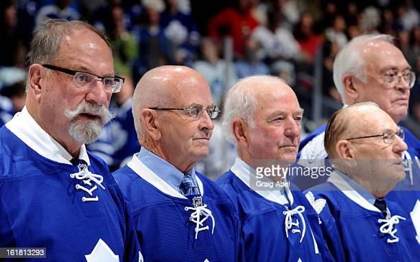 Eddie Shack Dave Keon Dick Duff Johnny Bower and George Armstrong take part in a on ice ceremony honouring the 50th anniversary of the 1963 Stanley...