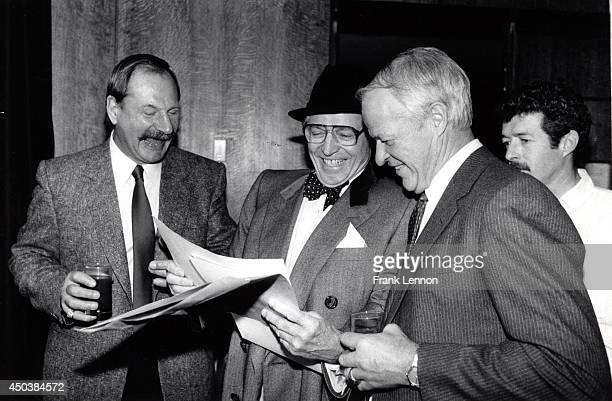 Eddie Shack Dick Beddoes and Gordie Howe Photo taken by Frank Lennon/Toronto Star Dec 16 1987