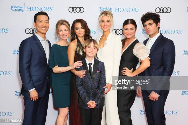 Eddie Shin Jolie Jenkins Paris Berele Finn Carr Isabel May Tiffani Thiessen and Emery Kelly attend The 12th Annual Television Academy Honors at the...