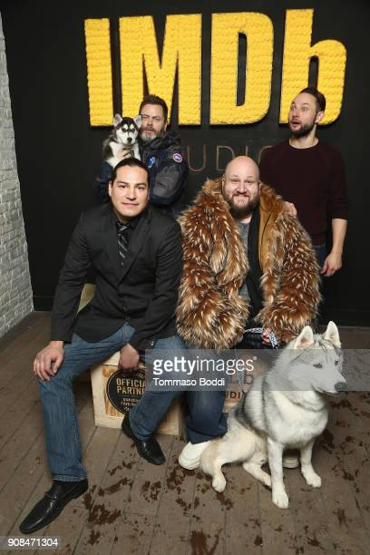 Eddie Spears Nick Offerman Stephen Kramer Glickman and Alexandre Espigares of 'White Fang' attend The IMDb Studio and The IMDb Show on Location at...