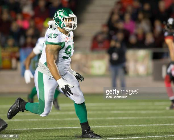 Eddie Steele of the Saskatchewan Roughriders runs downfield against the Ottawa Redblacks The Saskatchewan Rough Riders defeated the Ottawa Redblacks...