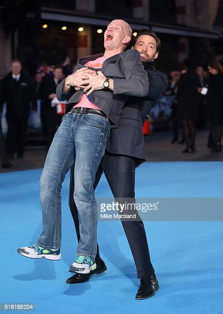 Eddie 'The Eagle' Edwards and Hugh Jackman arrive for the European premiere of 'Eddie The Eagle' at Odeon Leicester Square on March 17 2016 in London...