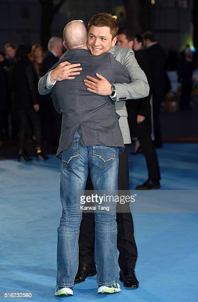 Eddie 'The Eagle' Edwards and Taron Egerton arrive for the European premiere of 'Eddie The Eagle' at Odeon Leicester Square on March 17 2016 in...