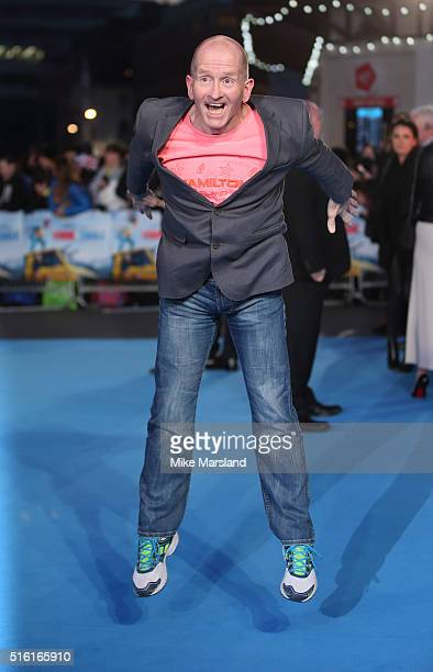 Eddie 'The Eagle' Edwards arrive for the European premiere of 'Eddie The Eagle' at Odeon Leicester Square on March 17 2016 in London England