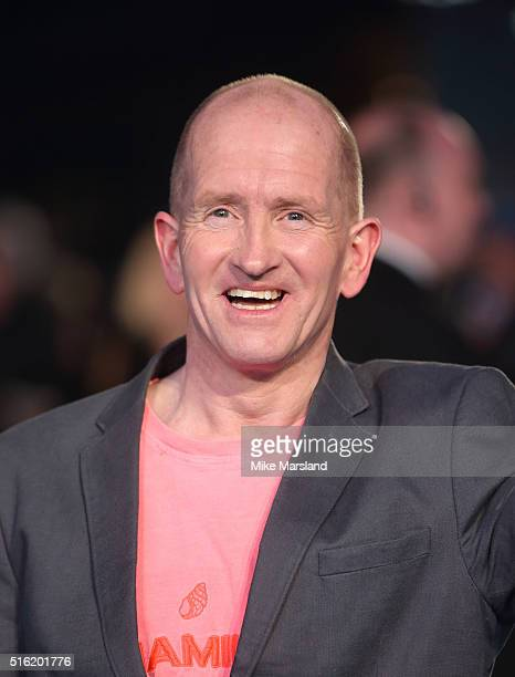 Eddie The Eagle Edwards arrives for the European premiere of 'Eddie The Eagle' at Odeon Leicester Square on March 17 2016 in London England