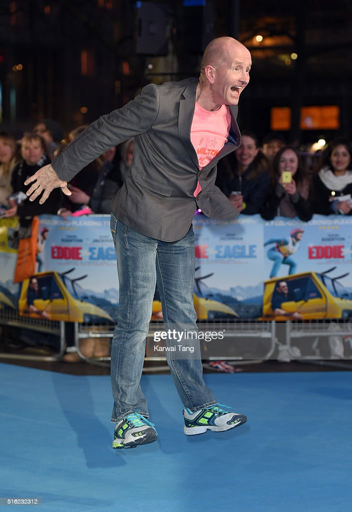 Eddie 'The Eagle' Edwards arrives for the European premiere of 'Eddie The Eagle' at Odeon Leicester Square on March 17, 2016 in London, England.