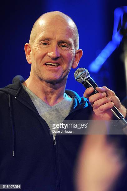 Eddie The Eagle Edwards attends Gary Barlow's live showcase of Fly an album of songs inspired by the new film Eddie the Eagle at One Mayfair on March...
