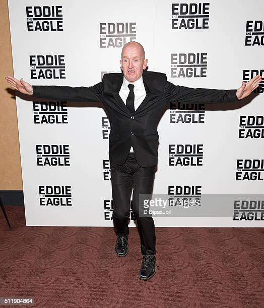 Eddie 'The Eagle' Edwards attends the 'Eddie The Eagle' New York screening at Chelsea Bow Tie Cinemas on February 23 2016 in New York City
