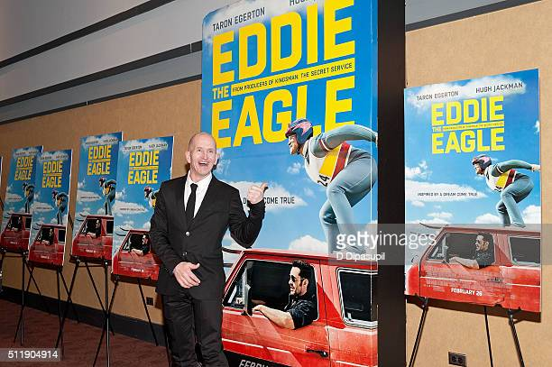 Eddie The Eagle Edwards attends the Eddie The Eagle New York screening at Chelsea Bow Tie Cinemas on February 23 2016 in New York City