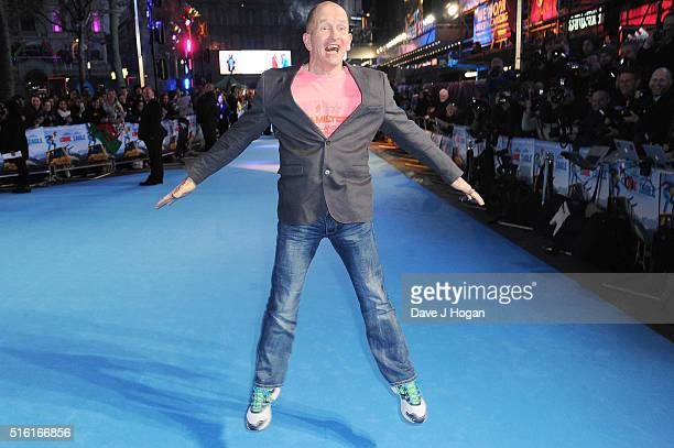 Eddie The Eagle Edwards attends the European premiere of 'Eddie The Eagle' at Odeon Leicester Square on March 17 2016 in London England
