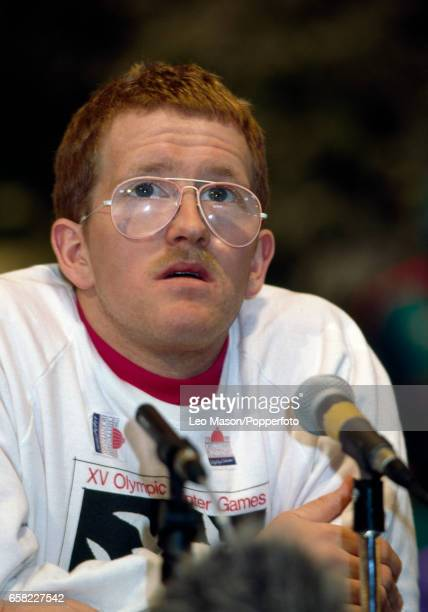Eddie 'the Eagle' Edwards of Great Britain during a press conference following his ski jumping efforts at the Winter Olympic Games in Calgary Canada...
