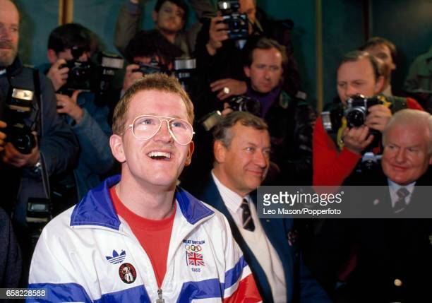 Eddie 'the Eagle' Edwards of Great Britain following his ski jumping efforts during the Winter Olympic Games in Calgary Canada circa February 1988 He...