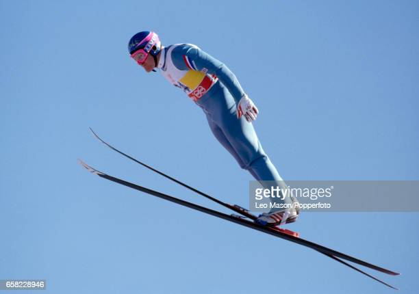 Eddie the Eagle Edwards of Great Britain in action during the Winter Olympic Games in Calgary Canada circa February 1988 He achieved celebrity by...