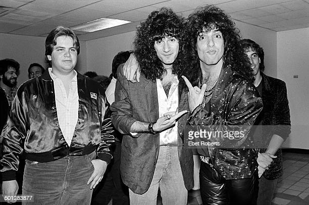 Eddie Trunk the host of 'That Metal Show' with Bruce Kulick and Paul Stanley of KISS backstage at the David Brenner Radio Show at DIR in New York...