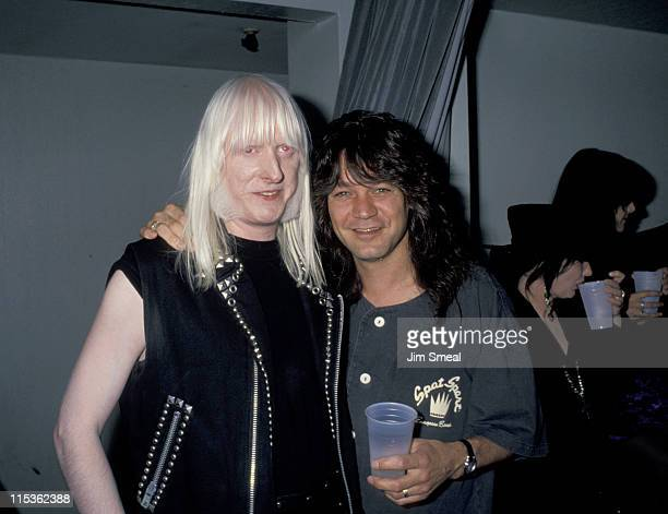 Eddie Van Halen and Edgar Winter during Bill Ted's Bogus Journey Hollywood Premiere at Hollywood Palladium in Hollywood California United States