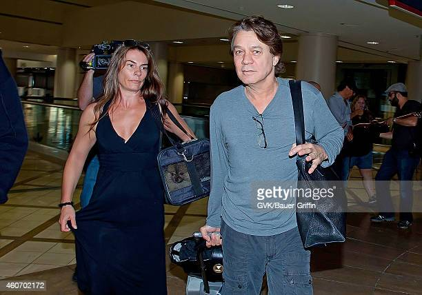 Eddie Van Halen and Janie Liszewski are seen at Los Angeles International Airport on June 27 2012 in Los Angeles California