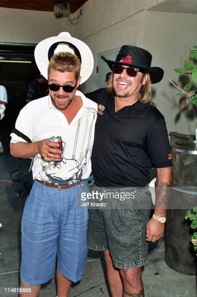 Eddie Van Halen and Vince Neil during TJ Martell/Neil Bogart Celebrity Golf Classic Benefit at Calabasas Country Club in Calabasas CA United States
