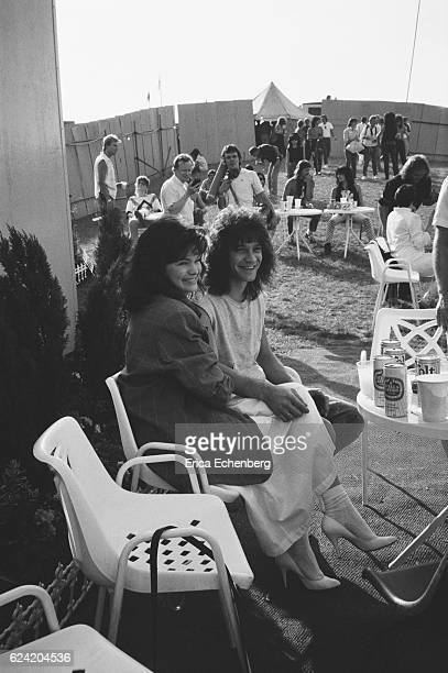 Eddie Van Halen and wife Valerie Bertinelli backstage at Monsters Of Rock festival Donington Park Leicestershire United Kingdom August 18th 1984