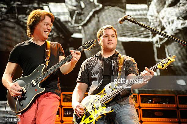 """Eddie Van Halen and Wolfgang Van Halen of Van Halen perform during """"A Different Kind of Truth"""" tour at Madison Square Garden on February 28, 2012 in..."""