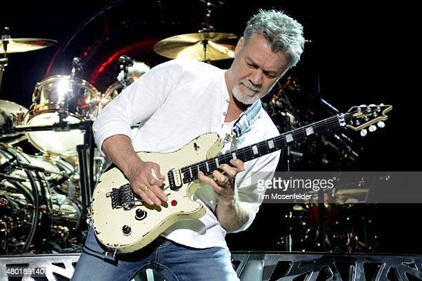 Eddie Van Halen of Van Halen performs at Concord Pavilion on July 9, 2015 in Concord, California.