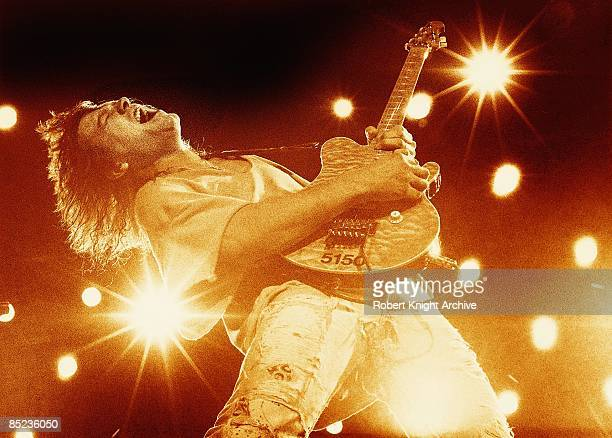 Eddie Van Halen of Van Halen performs on stage at The Pacific Amphitheatre, Costa Mesa, Orange County, California, 28th August 1993.