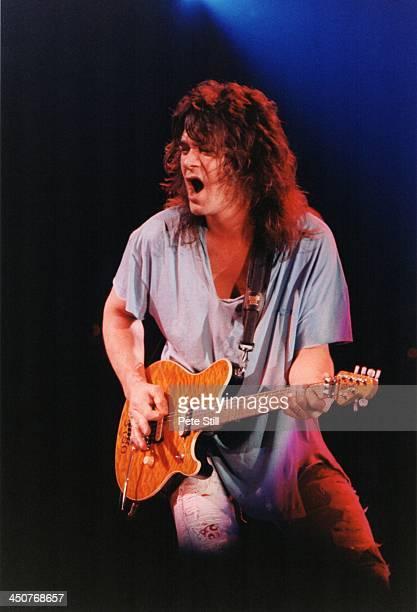 Eddie Van Halen of Van Halen performs on stage at Wembley Arena on April 29th 1993 in London England