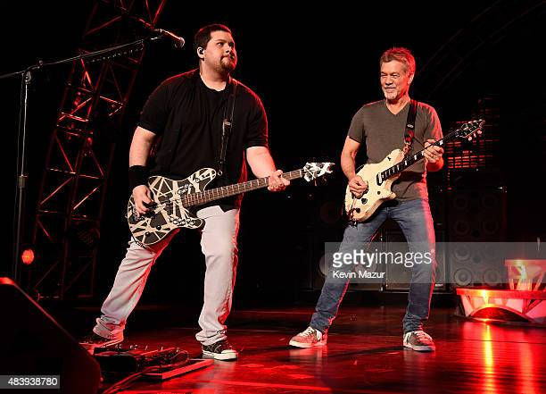 Eddie Van Halen performs onstage at Nikon at Jones Beach Theater on August 13, 2015 in Wantagh, New York.