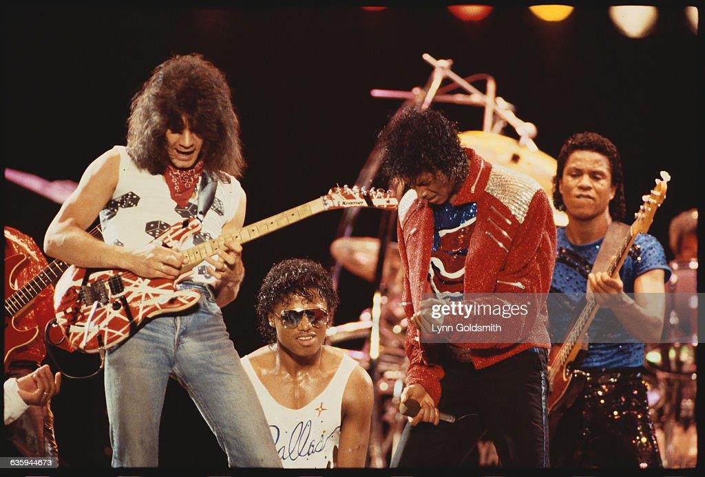 Eddie Van Halen On Stage With Jacksons News Photo