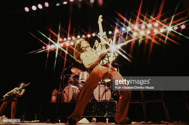 Eddie Van Halen Van Halen striking a pose at the Kouseinennkinn-kaikan, Tokyo, June 1978.