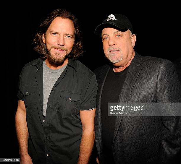 Eddie Vedder and BIlly Joel backstage during 121212 a concert benefiting The Robin Hood Relief Fund to aid the victims of Hurricane Sandy presented...