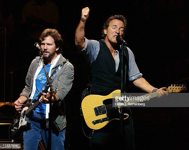 Eddie Vedder and Bruce Springsteen during Vote For Change Closing Night Concert October 13 2004 at Continental Airlines Arena in East Rutherford New...