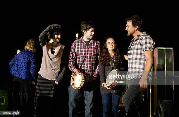 Eddie Vedder and EB friends onstage during Eddie Vedder and Zach Galifianakis Rock Malibu Fundraiser for EBMRF and Heal EB on September 15 2013 in...