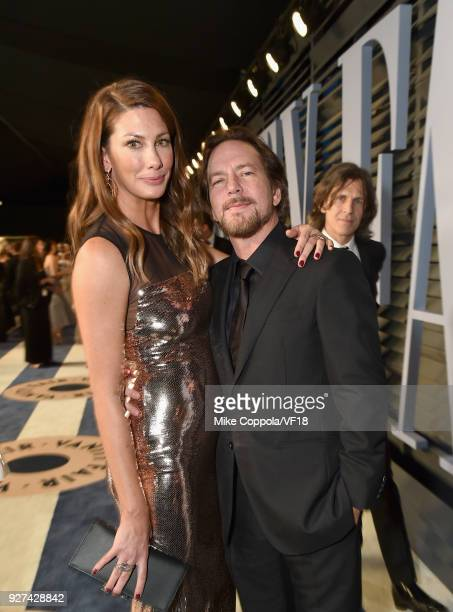 Eddie Vedder and Jill McCormick attend the 2018 Vanity Fair Oscar Party hosted by Radhika Jones at Wallis Annenberg Center for the Performing Arts on...
