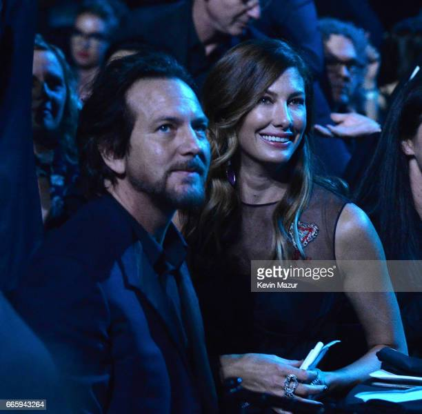 Eddie Vedder and Jill Vedder attend 32nd Annual Rock Roll Hall Of Fame Induction Ceremony at Barclays Center on April 7 2017 in New York City The...