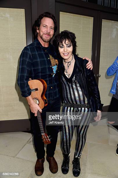Eddie Vedder and Joan Jett attend WHO Cares About The Next Generation at a private residence on May 31 2016 in Pacific Palisades City