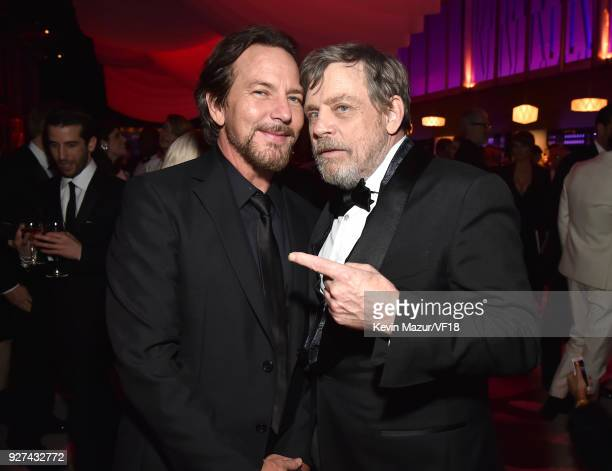 Eddie Vedder and Mark Hamill attend the 2018 Vanity Fair Oscar Party hosted by Radhika Jones at Wallis Annenberg Center for the Performing Arts on...