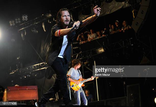 Eddie Vedder and Matt Cameron of Pearl Jam perform during Budweiser Made In America Festival Benefiting The United Way - Day 2 at Benjamin Franklin...